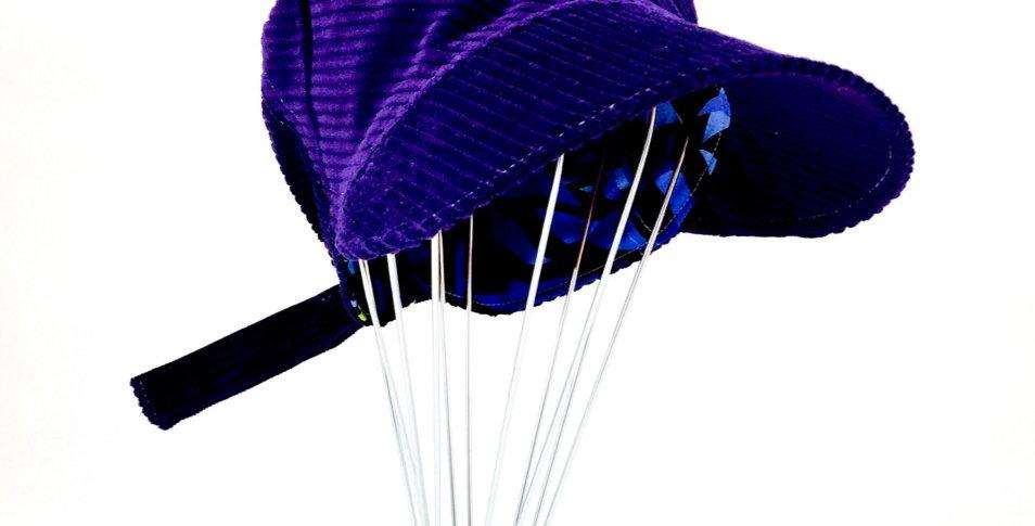 Purple corduroy retro reversible newsboy cap