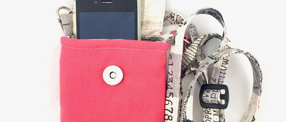 Typewriter Pink canvas phone case