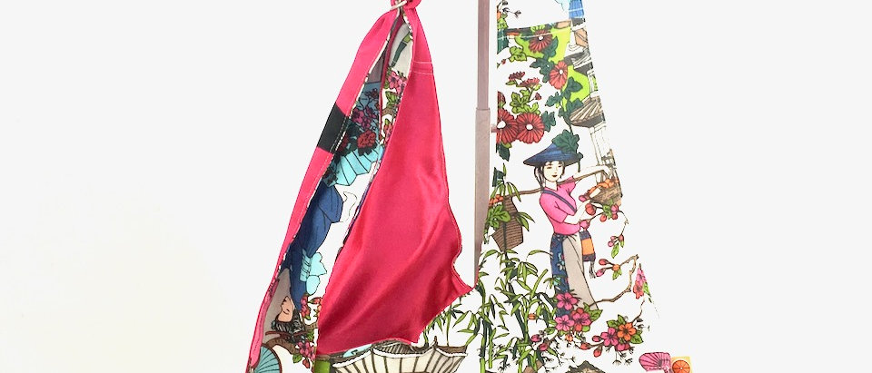 Japanese Geisha print fabric cross body bag