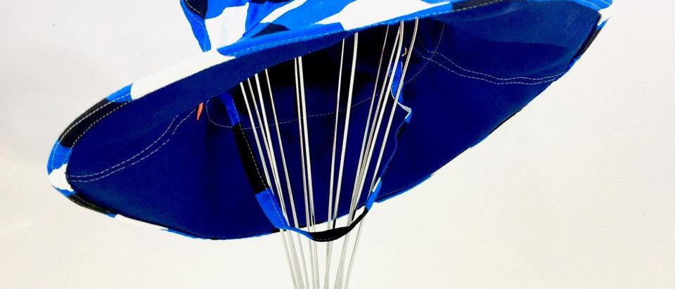 Blue Check Print Floppy Sunhat Side View