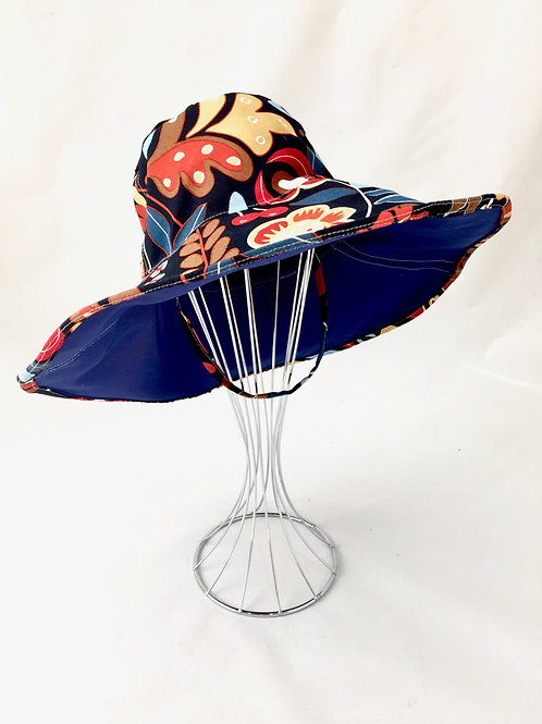 Floral Print Floppy Reversible Sunhat Side Front View