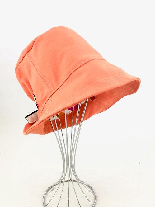 Orange canvas retro reversible bucket hat