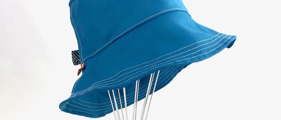 Teal Herringbone bucket hat