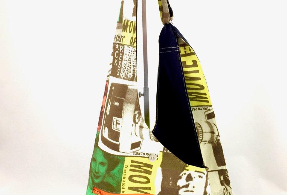 Film Print Reversible Cross Body Bag Zipper Front View