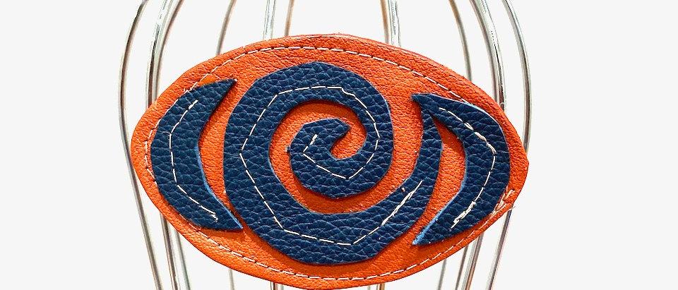 Orange Rose leather hair clip