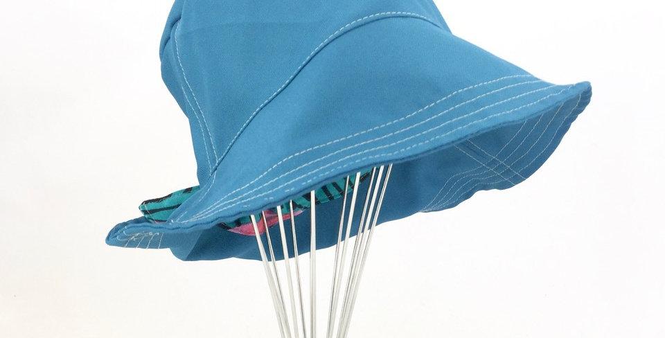 Teal canvas reversible retro bucket hat