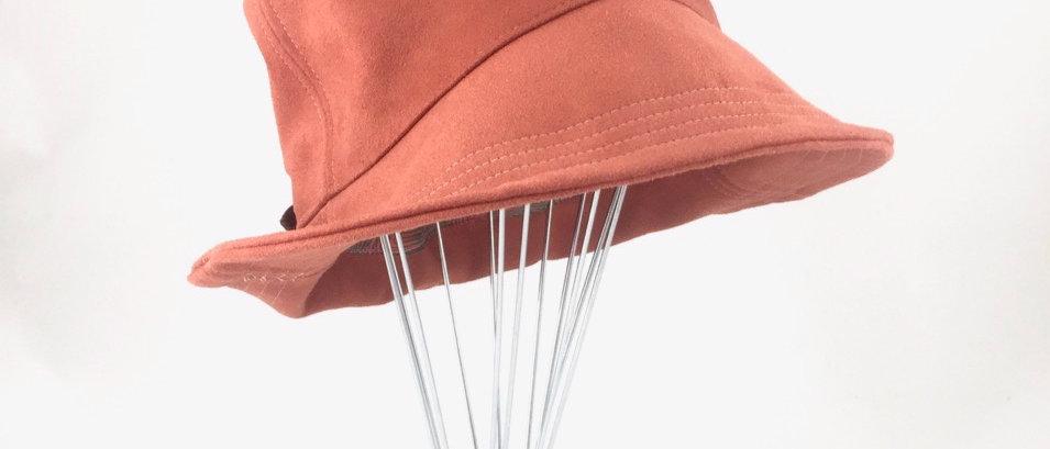 Burnt orange suede bucket hat