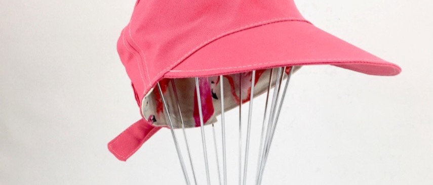 Pink retro adjustable reversible newsboy cap