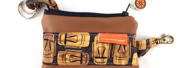 Tan Leather Key Case Front View Tiki Print