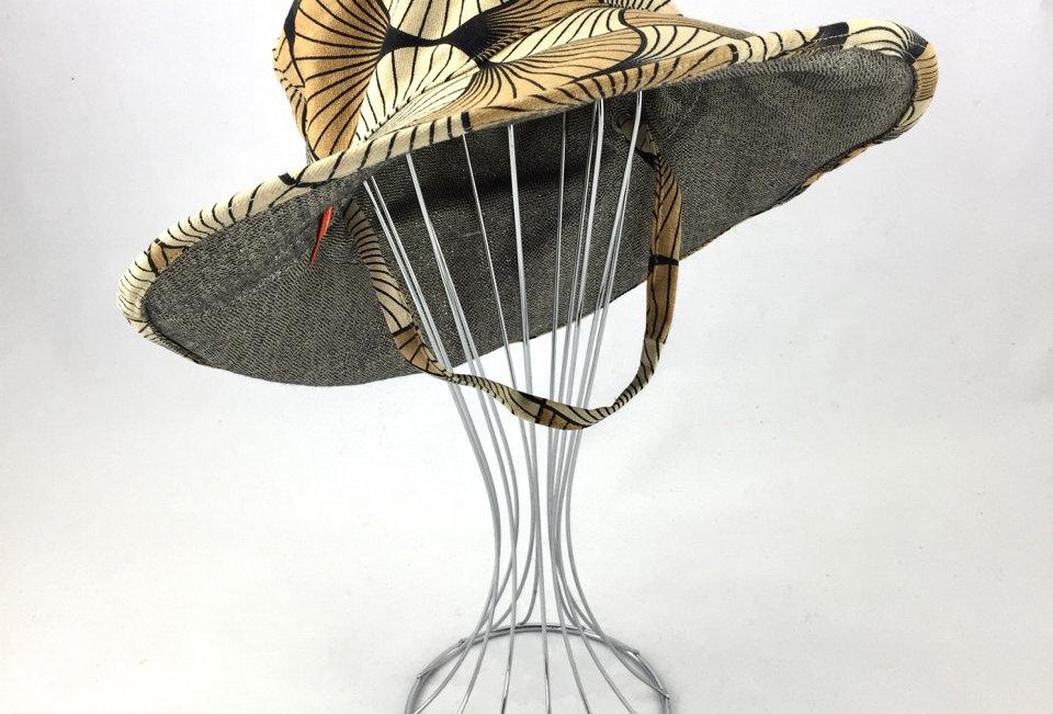 Camel tan colours wide brim reversible sun hat