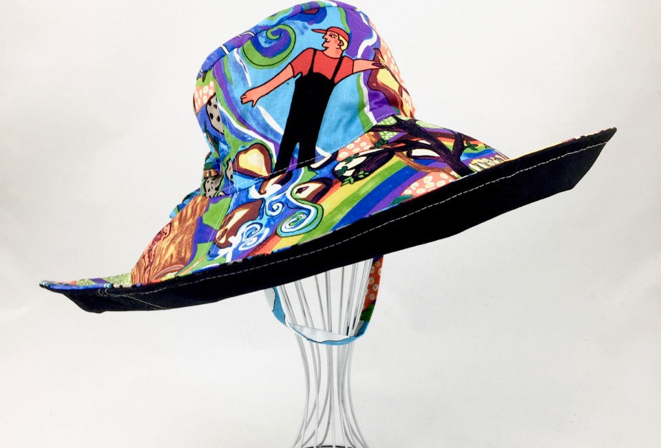 Extra wide brim multicolour sun hat sunhat reversible
