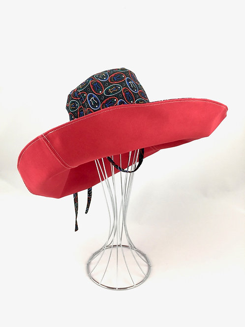 Red black wide brim sun hat sunhat reversible