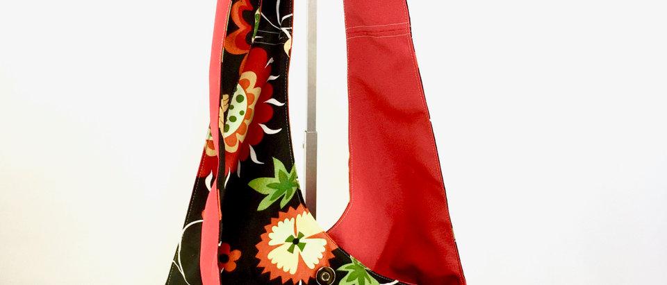 Folk Art Reversible Cross Body Bag Zipper Front View