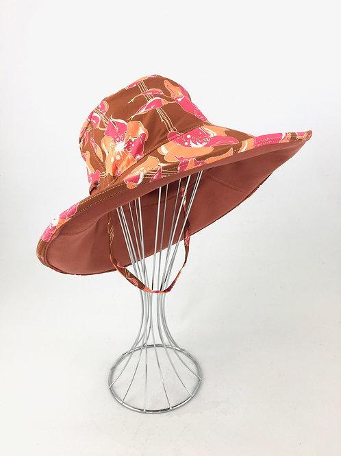Orange tones prints reversible sunhat sun hat