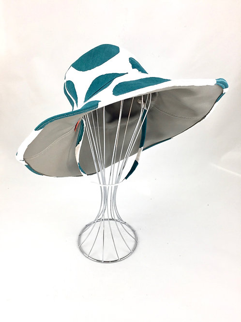 Green Spots Floppy Reversible Sunhat Side Front View