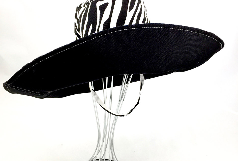Zebra Print Black Canvas Sunhat Side Front View