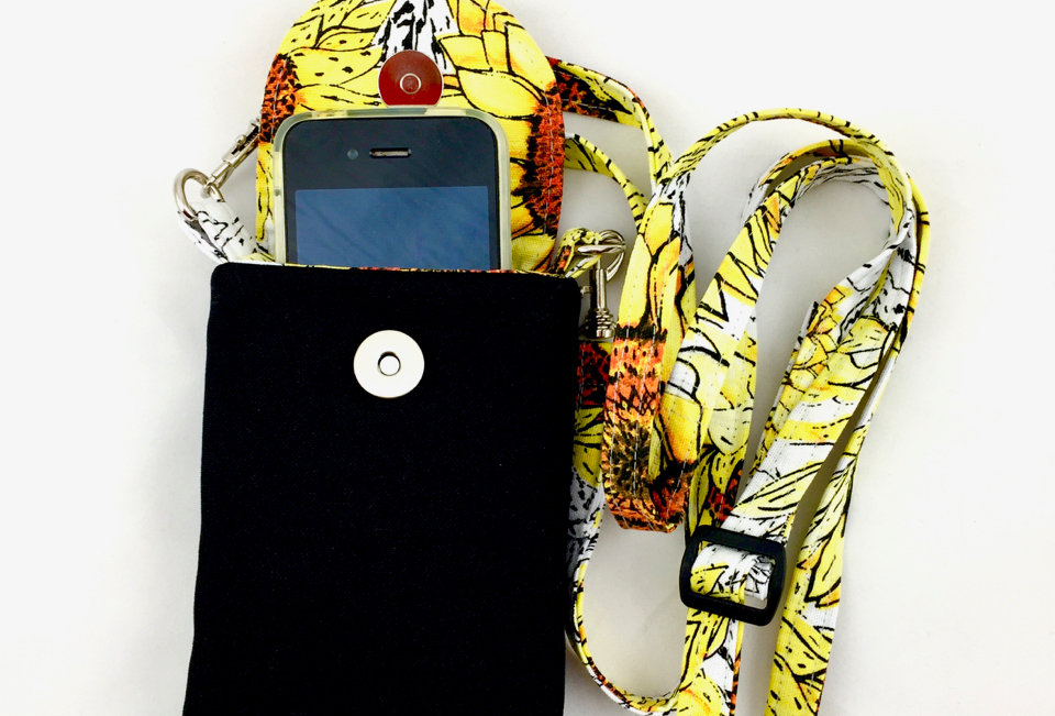 Black Canvas Phone Case with Strap Front View