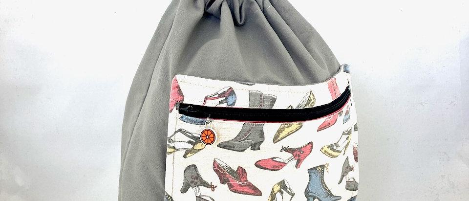 Vintage shoes drawstring bag