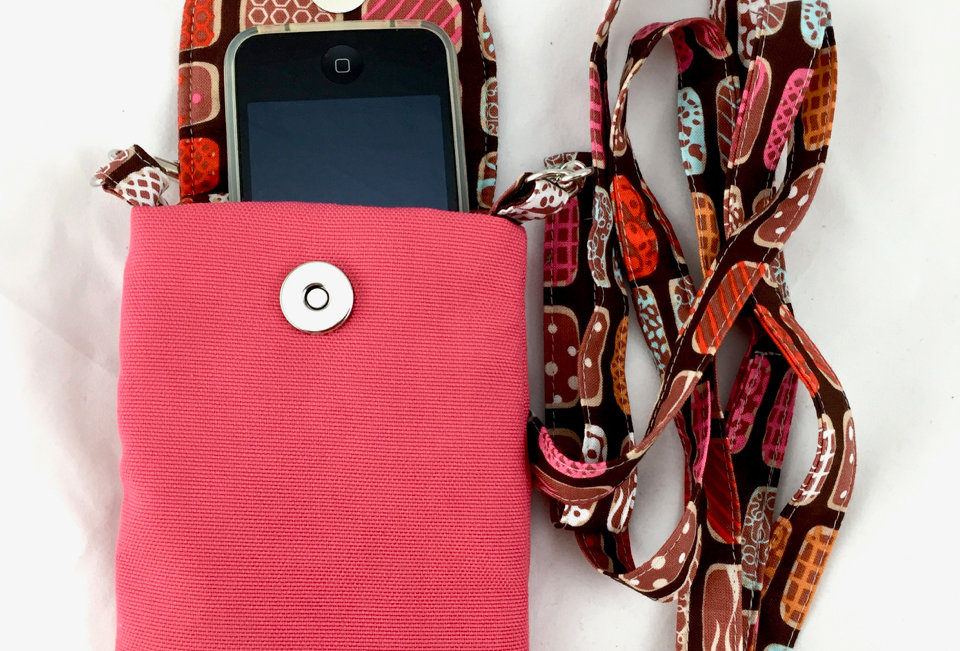 Pink Canvas Phone Case with Strap Front View