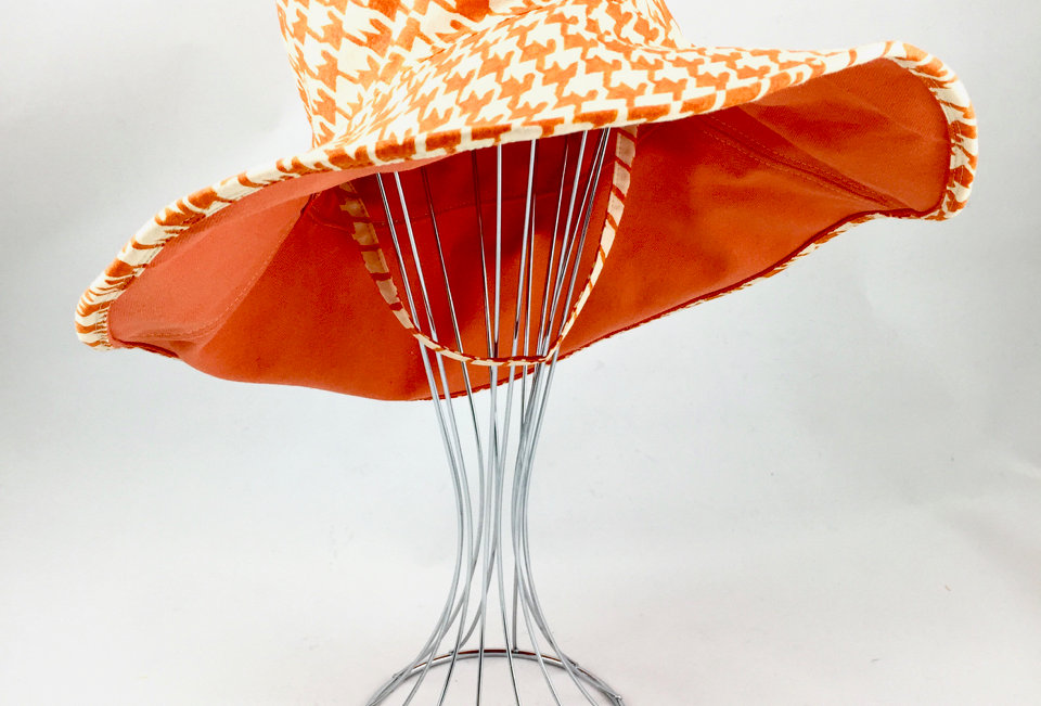 Orange print wide brim reversible sunhat sun hat