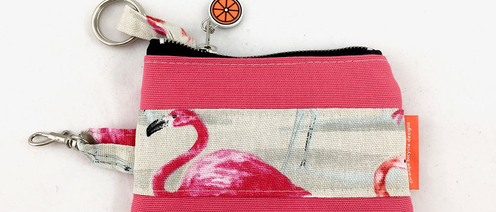 Flamingo Pink canvas keycase