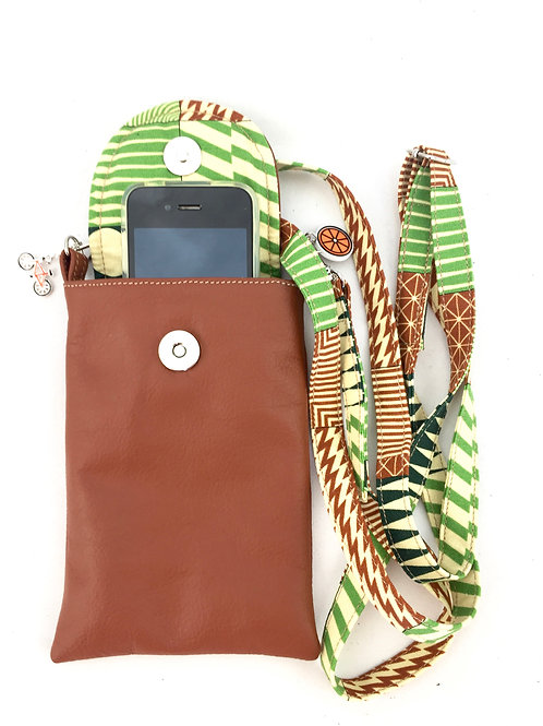 Tan Leather Phone Case with strap front view
