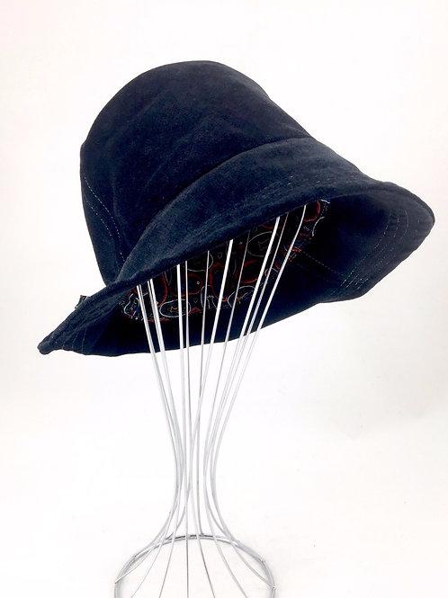 Black suede retro bucket hat Australian made