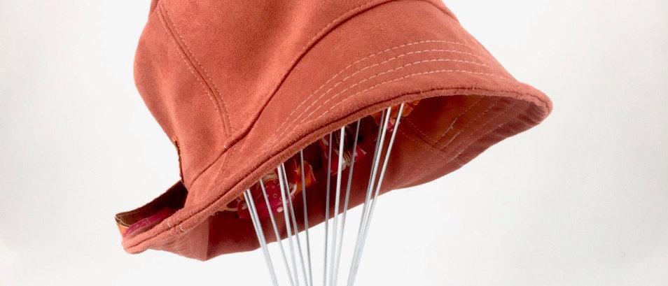 Burnt orange suede bucket hat Australian made