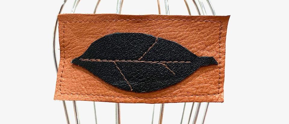 Tan Leaf leather hair clip