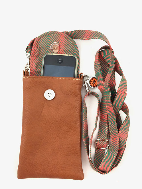 Retro Tan Leather Phone Case with Strap