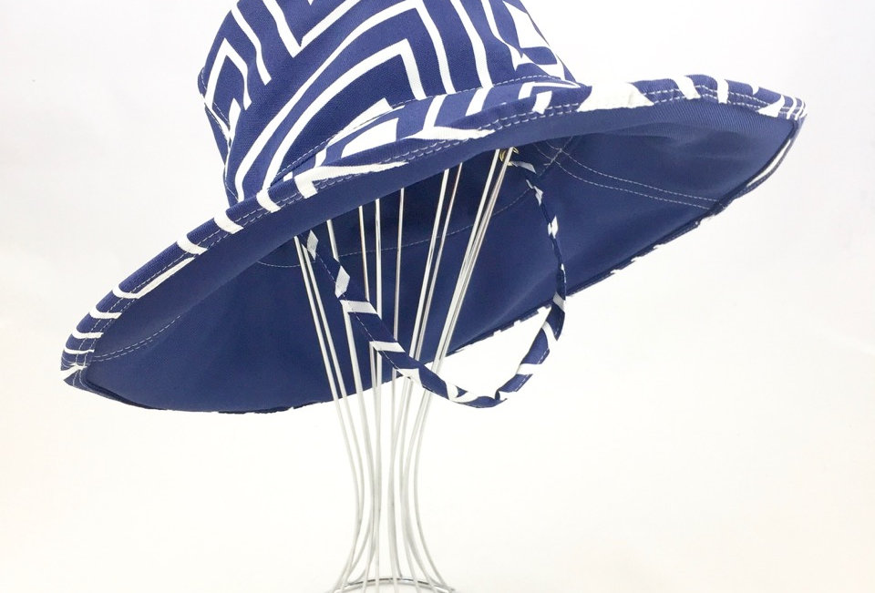 Abstract Check Print Blue Canvas Floppy Sunhat Side View
