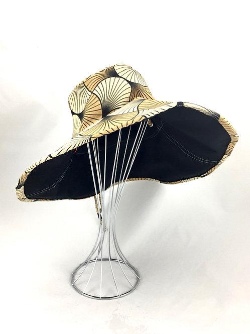 Camel brown tones print floppy reversible sunhat sun hat