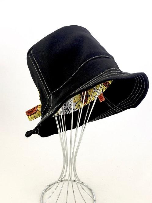 Black canvas retro reversible bucket hat