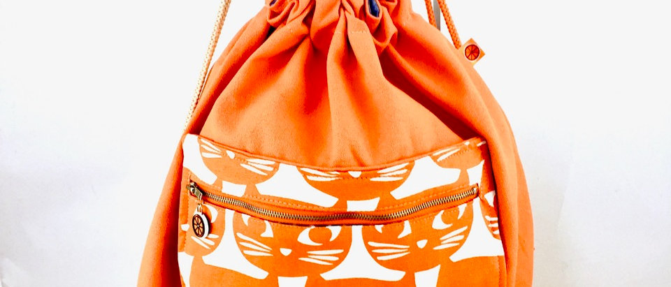 Orange cat print drawstring back pack backpack bag pockets