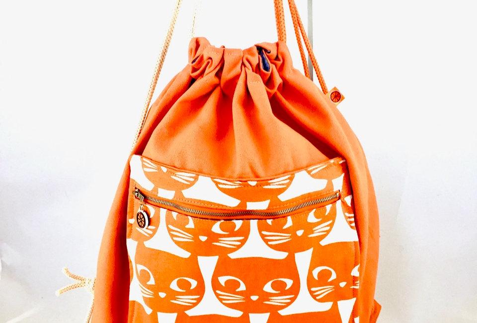 Orange cat print drawstring back pack backpack bag pockets