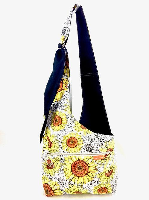 Sunflower Print Cross Body Reversible Bag Front View