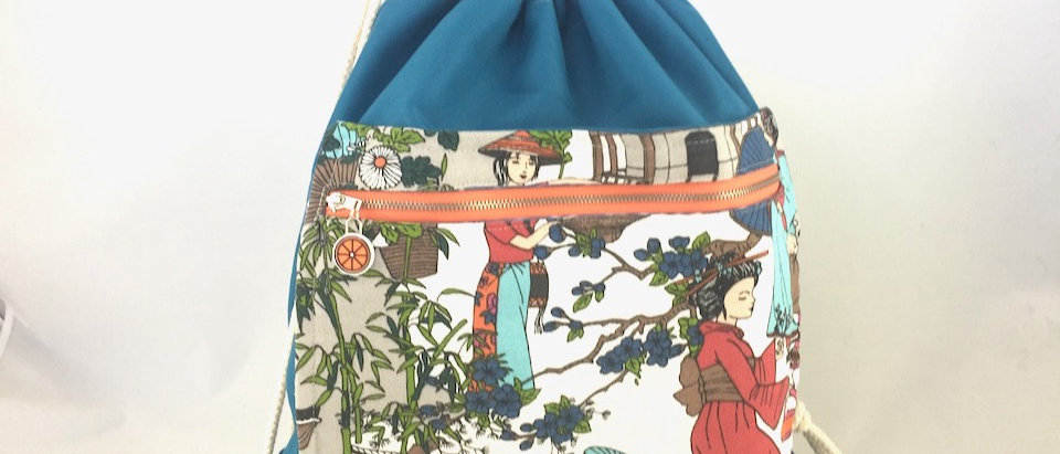 Teal Geisha drawstring bag