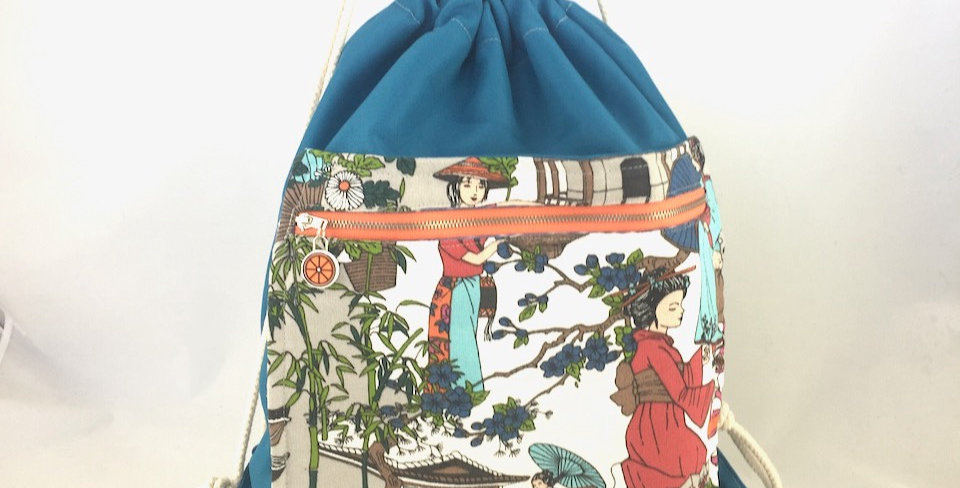 Teal Geisha drawstring bag