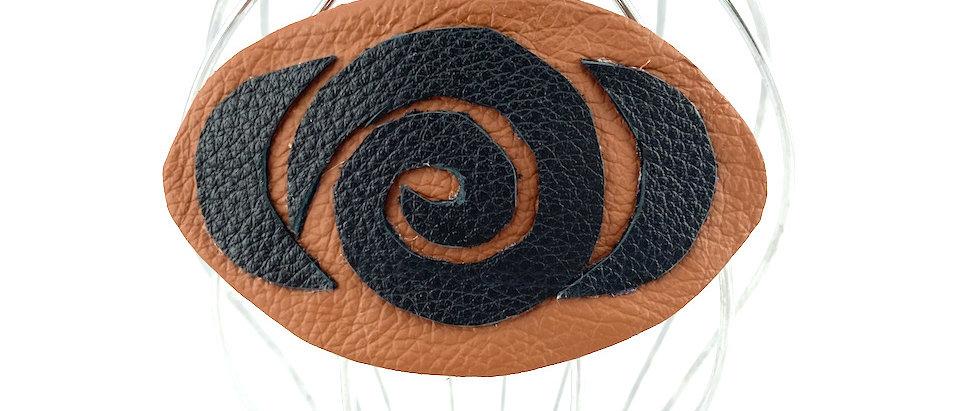 Tan Rose leather hair clip