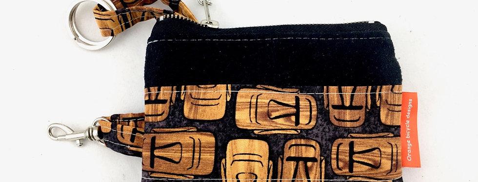 Tiki Black fabric suede keycase