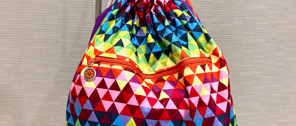 Magenta Pixels drawstring bag
