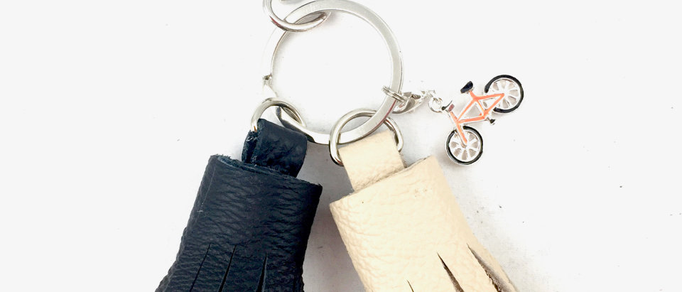 Cream and Black Tassel Keyring Front View
