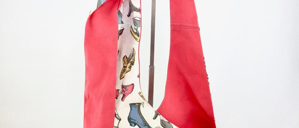 Vintage Shoes Reversible Cross Body Bag Zipper Front View