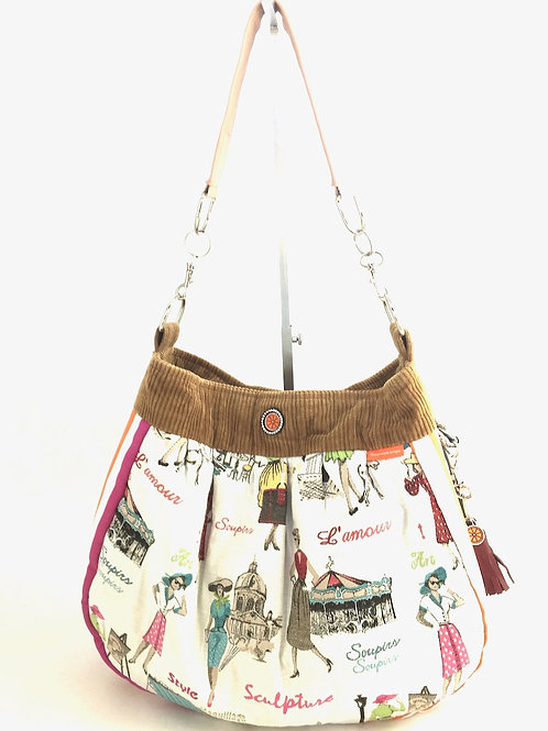 French lady pastel print fabric hobo bag