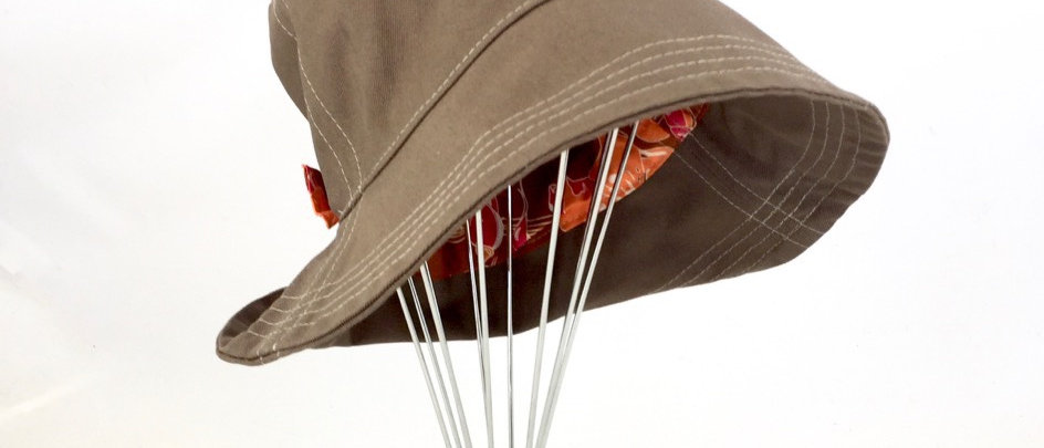 Light brown canvas reversible retro bucket hat