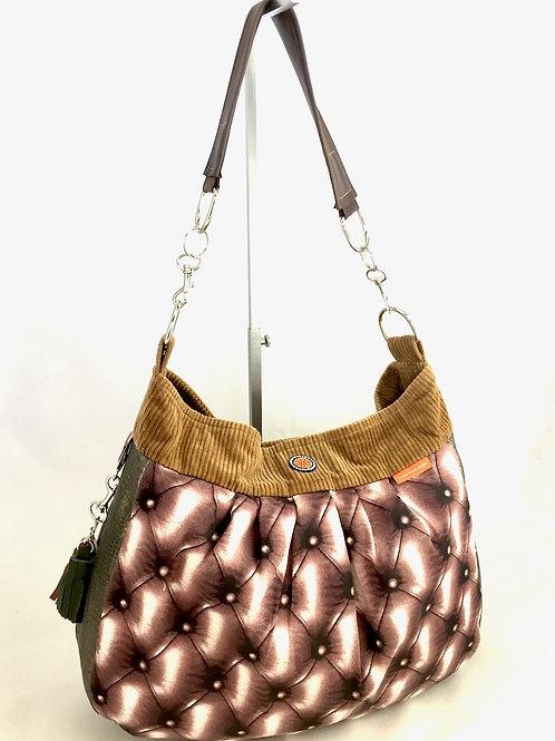 Brown hobo tote  bag mixed fabrics