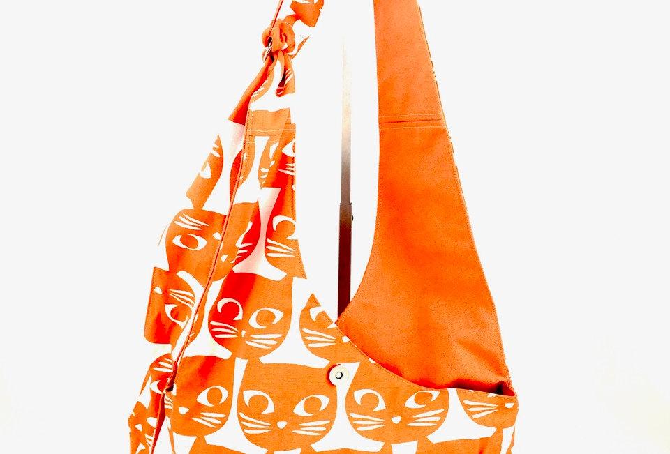 Orange Cat  Print Cross Body Reversible Bag Front View