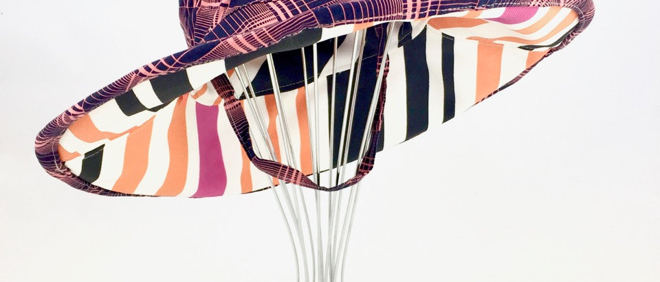 Candy Stripe Print Floppy Sunhat Side View