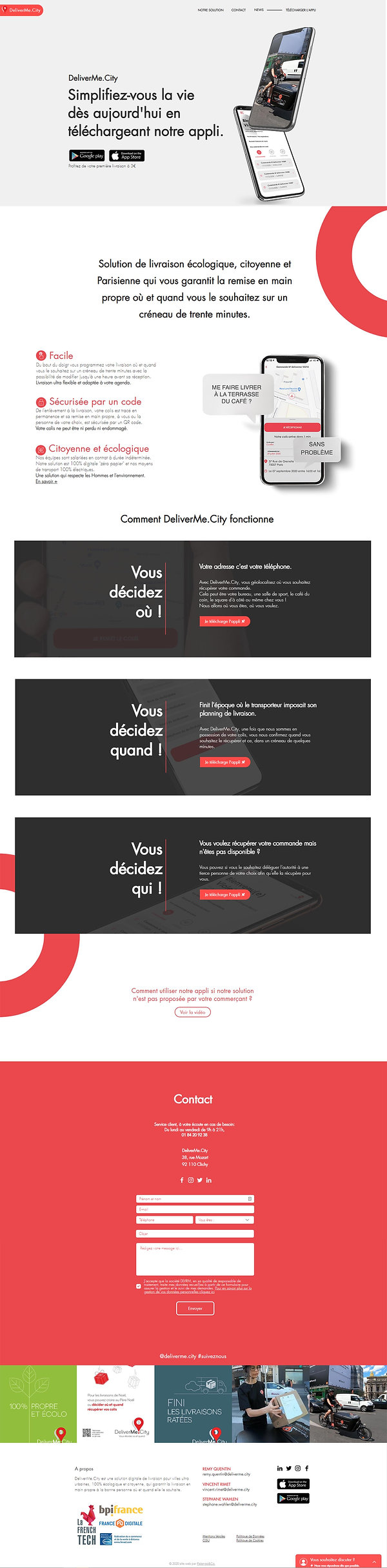 maquette création de site web DeliverMe.City