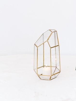 Gold Glass Geo Lantern